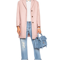Red Valentino Wool-Blend Coat in Nude in Nude   FWRD