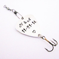 Personalized Fishing Lure, Handstamped Silver Custom Message Names Date Initials Fisherman Men Father Boyfriend Anniversary Gift brass spoon