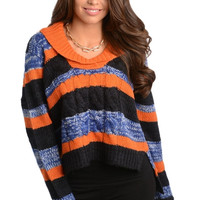 Striped Cable Knit Sweater