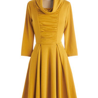 Storytelling Showstopper Dress in Goldenrod - 3, 4 Sleeves