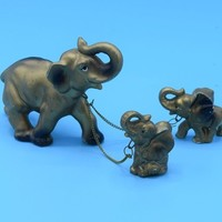 Ceramic Gold Elephant with Babies on Chains Vintage Leashed Elephant with Babies Lucky Elephants Figurines Gift for Her Wedding Decor