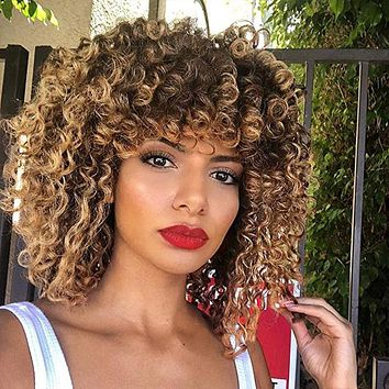 Fashion long curly hair, natural fluffy explode, ladies wig cover, chemical fiber silk wig