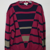 90s Geometric Sweater Triangle Striped Soft Grunge Preppy Hipster MENS XL Vintage Mens Clothing Women Unisex Oversize Large Red Navy Gray