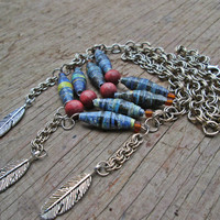 Upcycled, recycled, repurposed Paper bead necklace - Paper bead jewelry - Bohemian necklace - Native American inspired jewelry - Feathers