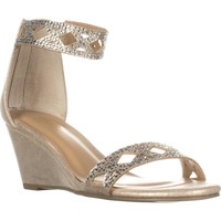 TS35-Addis Ankle Strap Wedge Sandals, Champagne, 7.5 US