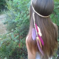 Seminole, Feather, Headband, Native, american, style, Washington, USC Trojans headband, Kansas City Chiefs, Chiefs Headband, FSU, ASU, 49ers
