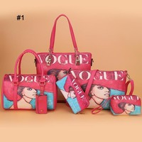 New fashion one-shoulder cross women's bag printed six-piece bag with large capacity