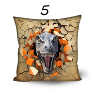 Funny Out of Wall Dinosaur Pillow Cover 20 inch Throw Pillow Pillowcase Sofa Decorative Pillow Living Room Decor