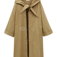 Women Trench Coat Hooded Long Sleeve Knotted Oversized Green Windbreaker