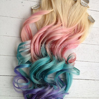 """Pastel Tie Dye Hair, Blonde Ombre Hair Extensions, Pastel Pink, Blue and Purple, (7)Pieces, 18""""/Ready To Ship"""