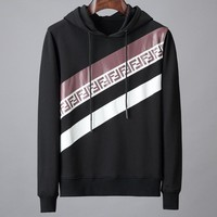 Fendi 2019 autumn and winter new letter printing men's casual hooded sweater Black