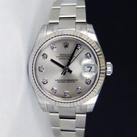 NEVER WORN Rolex Datejust Lady 31mm Silver Diamond Dial 178274 - WATCH CHEST