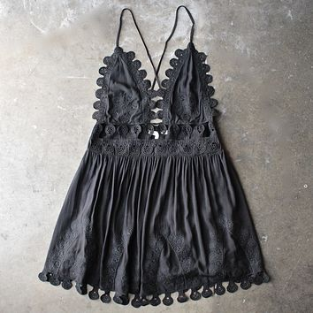 Honey Belle - Summer Lace Mini Dress - Black