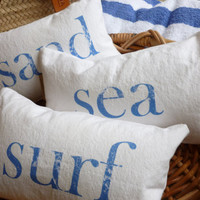 Beach Pillow Set of Three Throw Pillows Cottage Decor