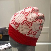GG Double letter foreign style warm knit hat
