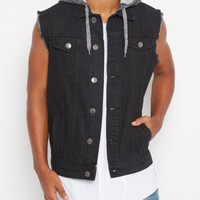 Black Hooded Frayed Arm Jean Vest | Jackets & Coats | rue21