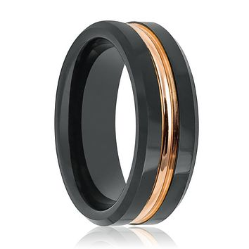 Black Wedding Ring with Rose Gold Grooved at Center