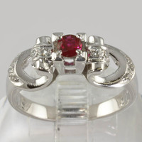 Vintage Style 18K White Gold Engagement Ring - Diamonds and Ruby