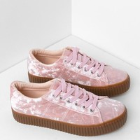 Velvet Creeper Sneakers in Pink