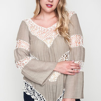 Floral Knit Top - Taupe - Curvy