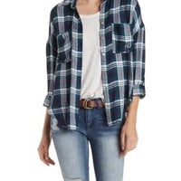 Green Combo Button-Up Plaid Top with Pockets by Charlotte Russe