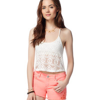 Womens Map to Mars Lace Crop Camisole - Beige, X-Small