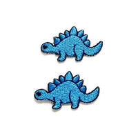 Set 2pcs. Dinosaur Patch - Stegosaurus Blue Dinosaur New Iron On Patch Embroidered Applique Size 3.4cm.x2cm.