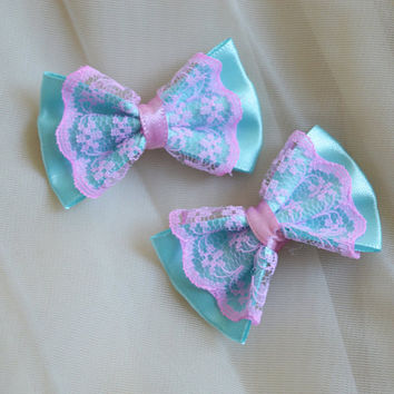 Mini hair bow - pastel blue and pink - fairy kei decora lolita harajuku romantic kitten play princess fashion kawaii costume prop