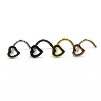 Showlove-4pcs Surgical Steel Hollow Heart Nose Screw Rings Studs Piercing -0411