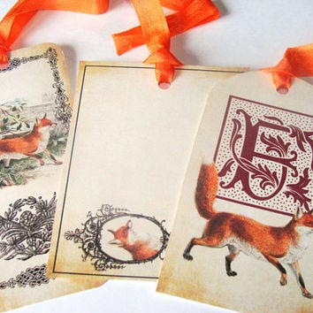 Red Fox Tags - Set of 9 - Woodland Tags - Animal Tags - Vintage Look,Thank Yous,Various Sizes,Forest Fox Tags,Direct Checkout,Ready to Ship