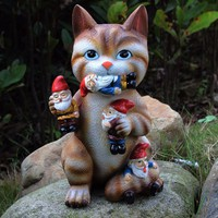 Cat Massacre Sculpture Figurines Art Decor Garden Gnome Statue