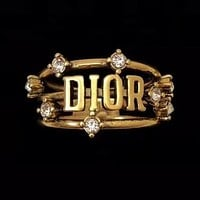 Dior Women Chic Diamond Letter Rings Jewelry Accessories