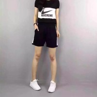 Nike  Women Fashion Casual  Simple Multicolor Stitching Letter  Short Sleeve Round Neck Two-Piece Suit Clothes