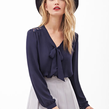 LOVE 21 Lacy Pintucked Button-Down Blouse