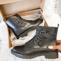 Bad Guy Black Buckle Moto Booties