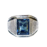 Vargas Ring, Sterling Silver, Sapphire Blue, Glass Stone, Mens Ring, September Birthday, Vintage Jewelry