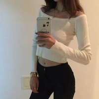 White Plain Crop Round Neck Long Sleeve Pullover Sweater