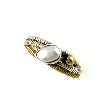 Pearl Two Tone Artisan Crafted Criss Twisted Ring
