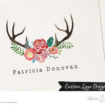 Premade watercolor logo design deer antler logo floral wreath logo websites logo blog logo woodland logo antler logo deer wreath logo design