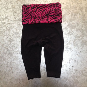 Adorable baby girl hot pink zebra yoga pants size 3-6 and 9-12 months