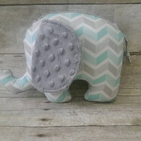 Blue & gray baby elephant plush - chevron aqua gray minky elephant stuffed animal - baby boy nursery decor - elephant chevron