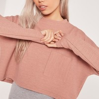 Missguided - Ribbed Pocket Front Sweat Pink