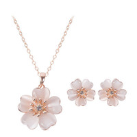Rose Gold Crystal Opal Flower Wedding Necklace Earrings Jewelry Set