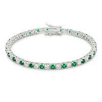 Cassidy Emerald and Clear Round  CZ Tennis Bracelet – 7in   10ct