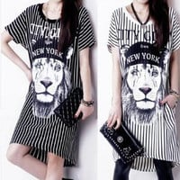 2014 Summer Dress New Fashion Womens Print Striped Lions A-Line Dresses Pullover Bow Short Sleeves plus Size PY-005