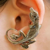 bronze Single Gecko lizard ear cuff fit for left ear earring for pierced ear ear bones folder ear Stud trending gifts