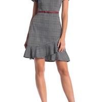 London Times | Plaid Belted Short Sleeve Dress | Nordstrom Rack