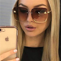 Lady Oversize Rimless Square Bee Sunglasses Women Men Small Bee Glasses Gradient Sun Glasses Female UV400