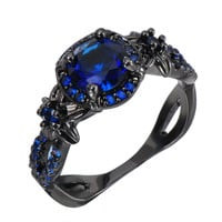 Stylish Blue Stone Vintage Flower Wedding Rings For Women Fashion Jewelry Black Gold Filled Cocktail Engagement Ring RB0431