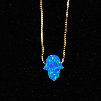 Lucky Blue Opal Hamsa Hand Gold Necklace